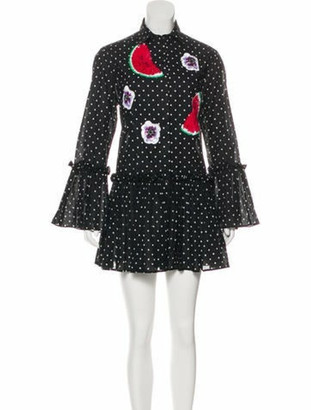 Dolce & Gabbana Polka Dot Embellished Dress Black