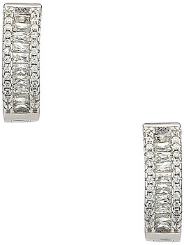 The M Jewelers NY The Baguette Channel Set Huggie Earrings