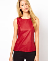 Oasis Faux Leather Shell Top