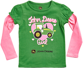 John Deere Green & Pink 'John Deere Girl' Layered Tee - Infant