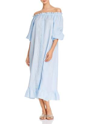 Sleeper Linen Off-the-Shoulder Midi Dress