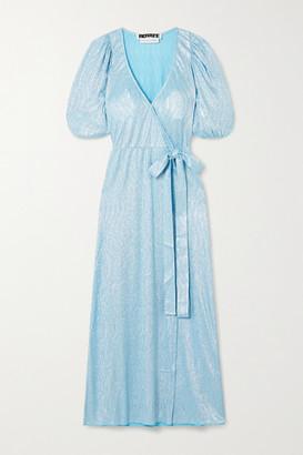 Rotate by Birger Christensen Frida Metallic Textured-jersey Wrap Dress