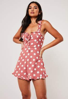 Missguided Terracotta Polka Dot Cami Frill Playsuit