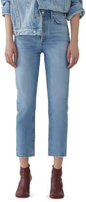 A Gold E Agolde Riley Crop High-Rise Straight Organic Denim Jeans
