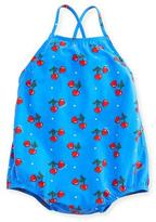 Gucci Heart Cherries One-Piece Cross-Back Swimsuit, Blue, Size 9-36 Months