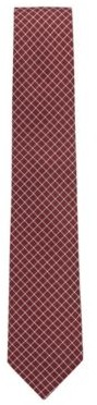 HUGO BOSS Water Repellent Tie In Pure Silk With Geometric Pattern - Dark Red