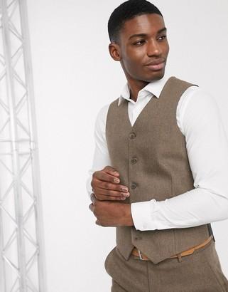 ASOS DESIGN wedding skinny wool mix suit waistcoat in camel herringbone