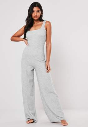 Missguided Grey Super Soft Scoop Loungewear Jumpsuit