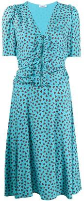 P.A.R.O.S.H. ruffled heart-print midi dress
