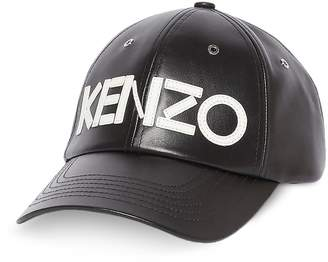 Kenzo Black Leather Signature Baseball Cap