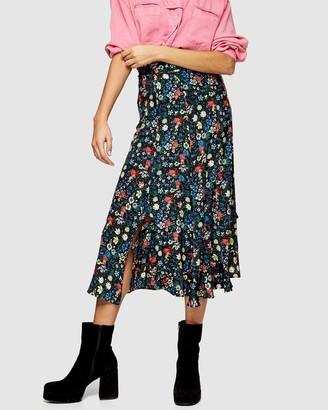 Topshop Idol Floral Print Ruffle Midi Skirt