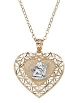 Angel Heart 14k Gold Two Tone Pendant Necklace