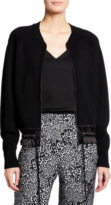 Kobi Halperin Zeina Raglan-Sleeve Zip-Front Sweater