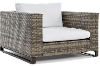 """Tommy Hilfiger Oceanside Outdoor 40"""" Arm Chair, Gray Wicker"""