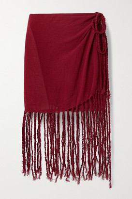 CARAVANA Net Sustain Naira Fringed Cotton-gauze Mini Skirt - Claret
