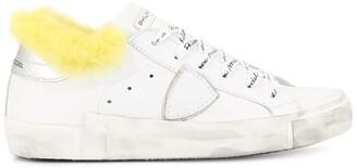 Philippe Model Paris Fur Trim Lace-Up Sneakers