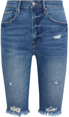 Frame Le Vintage Bermuda Distressed Denim Shorts