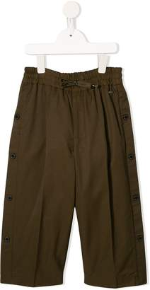 Fith elasticated button-trim trousers