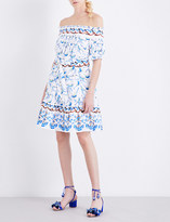 Peter Pilotto Bird-print off-the-shoulder cotton dress