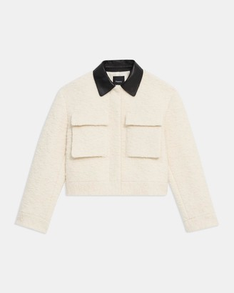 Theory Utility Cropped Jacket in Boucle Wool