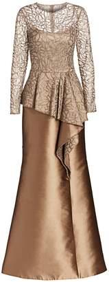 Teri Jon By Rickie Freeman Lace & Gazar Long-Sleeve Glitter A-Line Drape Silk Tulle Gown