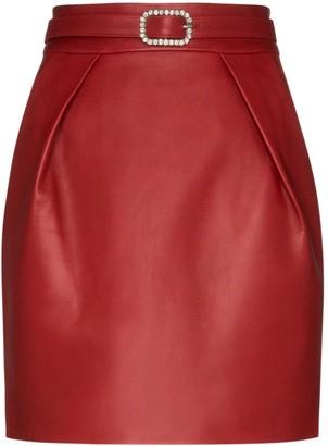 Alexandre Vauthier Crystal-Embellished Leather Mini Skirt