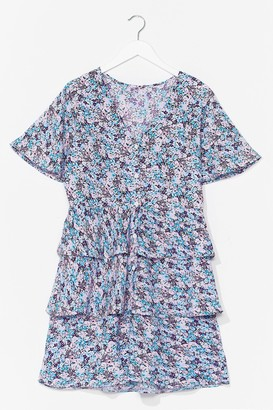 Nasty Gal Womens No Tiers Over You Floral Mini Dress - Blue