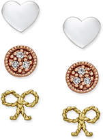 Giani Bernini Tri-Tone 3-Pc. Set Stud Earrings in Sterling Silver, Gold-Plated Sterling Silver and Rose Gold-Plated Sterling Silver, Only at Macy's