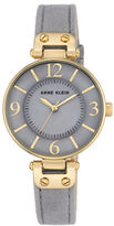 Anne Klein AK2738GMGY Round Leather Strap Watch
