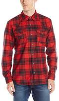 True Religion Men's Western Red Brushed Plaid Long Sleeve Button Down Shirt