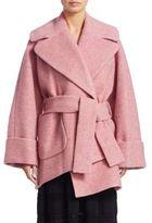 Carven Asymmetrical Wool Wrap coat
