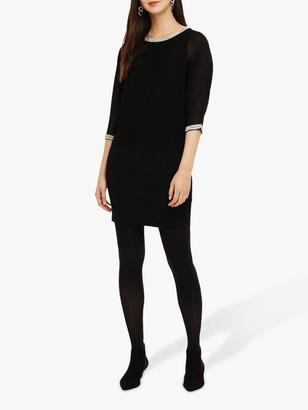 Phase Eight Embellished Trim Sheer Dress, Black