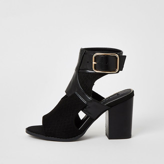River Island Black cut out heeled shoe boots