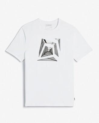 Express White Geo Photo Moisture-Wicking Graphic T-Shirt