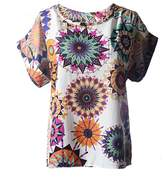 Bestgift Womens Fashion Short Sleeve Print Blouse Top 19 Colors XXL