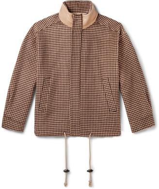 Nanushka Hayden Faux Leather-Trimmed Houndstooth Wool And Silk-Blend Jacket