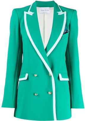 Hebe Studio Contrast-Trim Double-Breasted Blazer