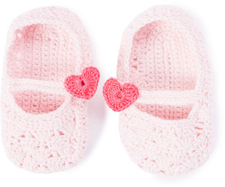 Loralin Design Girls' Infant Booties and Crib Shoes Pink - Pink Crocheted Heart Booties - Girls
