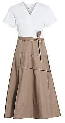 3.1 Phillip Lim Women's Mixed Media Utility Midi Dress
