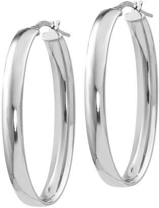 Italian Silver Large Oval Hoop Earrings