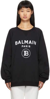 Balmain Black Flocked Logo Sweatshirt