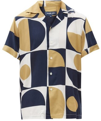 Frescobol Carioca Short-sleeved Geometric-print Shirt - Gold Navy