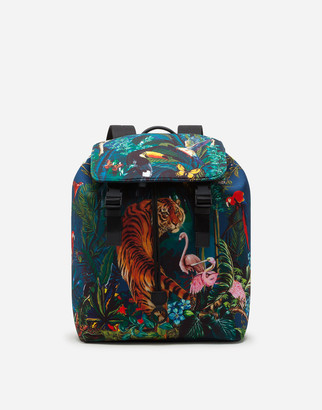 Dolce & Gabbana Palermo Tecnico Backpack In Neoprene With Jungle Stamp