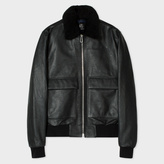 Paul Smith Men's Black Grained Leather Jacket With Detachable Collar Trim