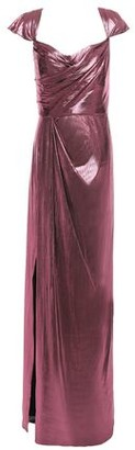 Marchesa Draped Gathered Lame Gown