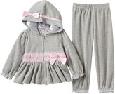 Nannette Baby Girl Rosette Velour Hooded Jacket & Pants Set