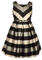 Bonnie Jean Girl's Sleeveless Striped Taffeta Dress