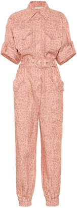 Zimmermann Exclusive to Mytheresa Leopard-print linen jumpsuit