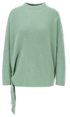 BOSS Relaxed-fit sweater in pure cashmere with side ties