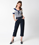 Collectif 1950s Style Navy Denim High Waist Coco Capris Pants